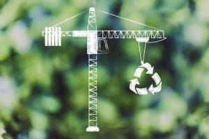 Crane doing construction recycling