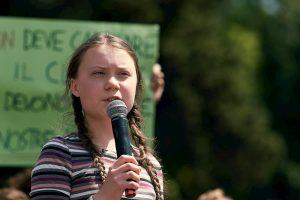 Greta Thunberg speaking at an event